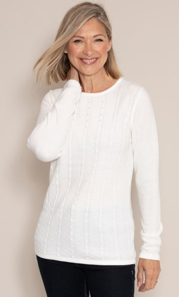 Anna Rose Embellished Cable Knit Top - Ivory