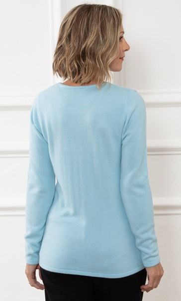Anna Rose Embellished Cable Knit Top - Light Turquoise