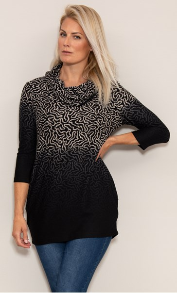 Printed Brushed Knit Cowl Neck Tunic Black/Beige