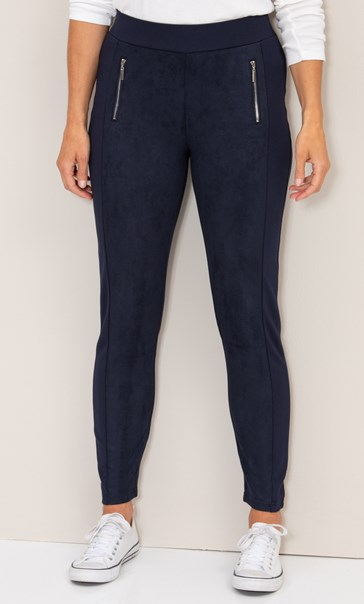 Suedette And Ponte Leggings - Navy