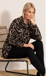 Oversized Animal Printed Cowl Neck Knit Tunic Black/Beige - Gallery Image 1