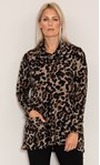 Oversized Animal Printed Cowl Neck Knit Tunic Black/Beige - Gallery Image 2
