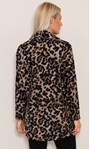 Oversized Animal Printed Cowl Neck Knit Tunic Black/Beige - Gallery Image 3