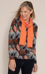 Anna Rose Printed Brushed Knit Top with Scarf Black/Orange/Multi - Gallery Image 1