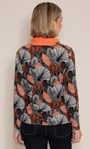 Anna Rose Printed Brushed Knit Top with Scarf Black/Orange/Multi - Gallery Image 2