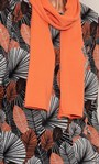 Anna Rose Printed Brushed Knit Top with Scarf Black/Orange/Multi - Gallery Image 3