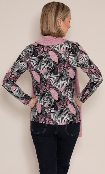 Anna Rose Printed Brushed Knit Top with Scarf - Pink/Black/Grey