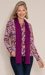 Anna Rose Printed Brushed Knit Top with Scarf Cranberry/Watermelon - Gallery Image 1