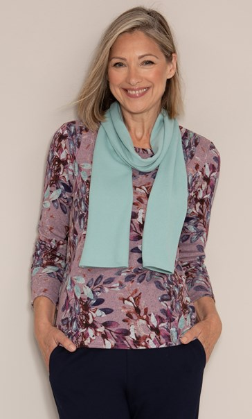 Anna Rose Botanical Printed Brushed Knit Top with Scarf