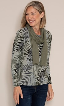 Anna Rose Leaf Printed Brushed Knit Top with Scarf
