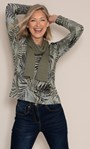 Anna Rose Leaf Printed Brushed Knit Top with Scarf Green - Gallery Image 3