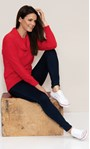 Cowl Neck Eyelash Knit Top Red - Gallery Image 1