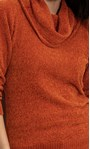 Cowl Neck Long Sleeve Chenille Top Orange - Gallery Image 5