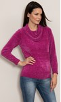 Cowl Neck Long Sleeve Chenille Top Cerise - Gallery Image 1