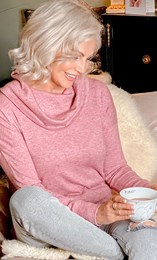 Embellished Cowl Neck Knitted Lounge Top