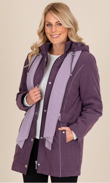 Anna Rose Coat With Scarf Damson