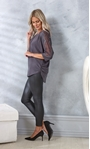 Embellished Lace And Knit Top Charcoal - Gallery Image 1