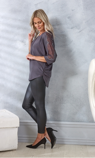 Embellished Lace And Knit Top Charcoal