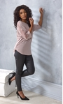 Embellished Lace And Knit Top Dusky Rose - Gallery Image 2