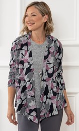 Anna Rose Brushed Knit Cardigan And Top Set With Necklace