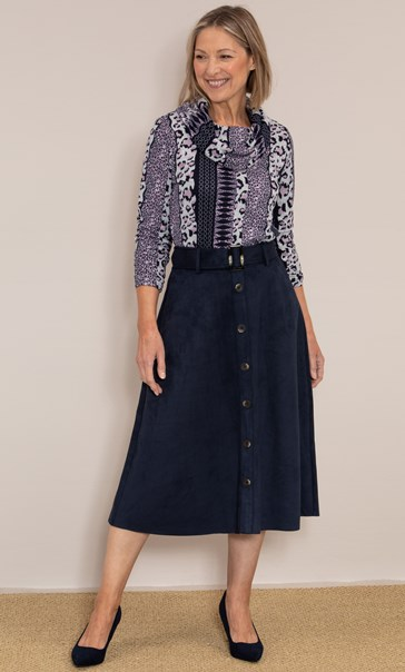 Anna Rose Suedette Belted Midi Skirt