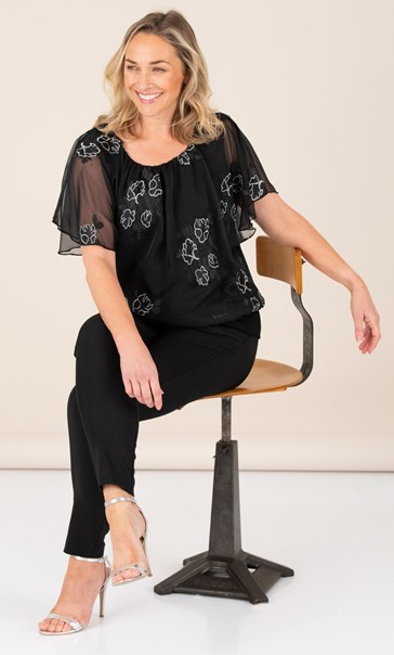Embroidered Chiffon Overlay Top Black