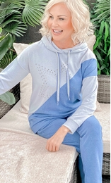 Star Embellished Colour Block Cosy Hoodie