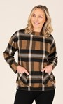 Funnel Neck Cosy Top With Pockets Black/Tan - Gallery Image 3