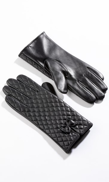 Anna Rose Quilted Leather Look Gloves