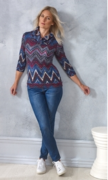 Printed Cowl Neck Knit Top