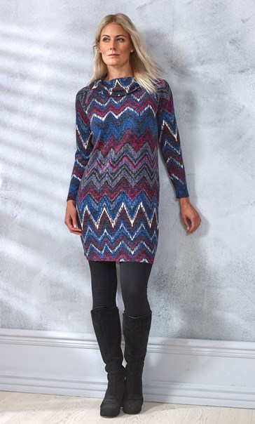 Printed Cowl Neck Knitted Tunic Dress - Pink/Blue