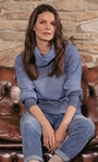 Space Dye Cowl Neck Knit Top Blue - Gallery Image 1