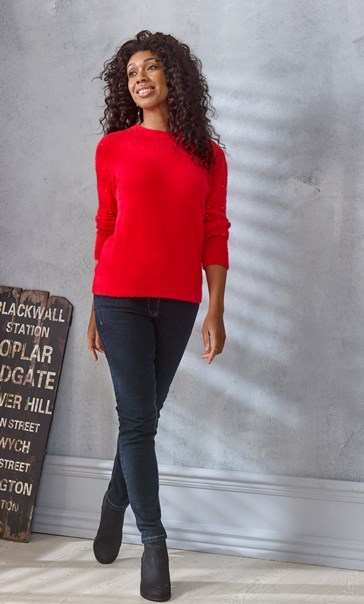 Embellished Feather Knit Top - Red
