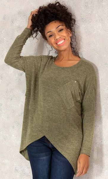 Oversized Cross Over Knitted Tunic - Moss