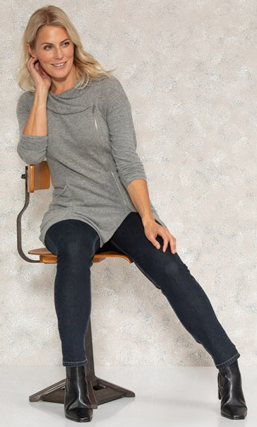 Zip Long Sleeve Knitted Tunic